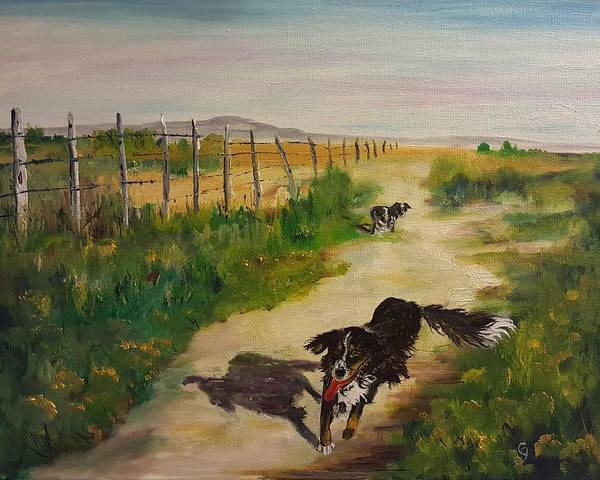 Painting - Morning Walk With Ruby N Bumper     95 by Cheryl Nancy Ann Gordon