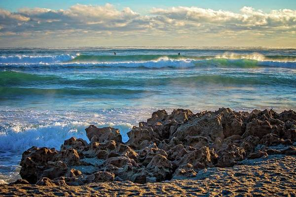 Photograph - Morning Wave Riders At Coral Cove Beach by Lynn Bauer