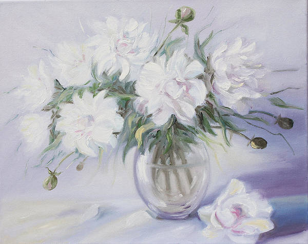 Painting - Morning With White Peonies by Elena Antakova