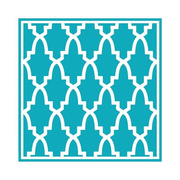Robin's Egg Blue Digital Art - Moroccan Arch With Border In Robin's Egg Blue by Custom Home Fashions