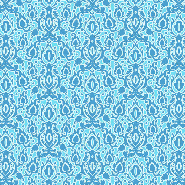 Moroccan Digital Art - Moroccan Beach Blue Casbah Damask by Antique Images