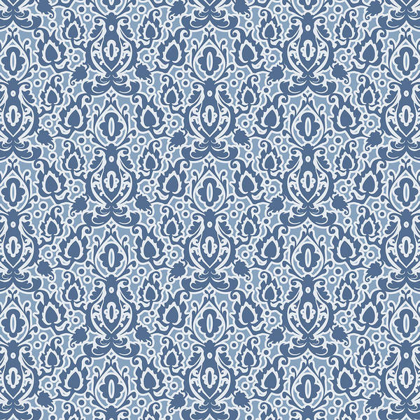 Moroccan Digital Art - Moroccan Blue Casbah Damask by Antique Images