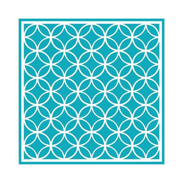 Robin's Egg Blue Digital Art - Moroccan Endless Circles I With Border In Robin's Egg Blue by Custom Home Fashions