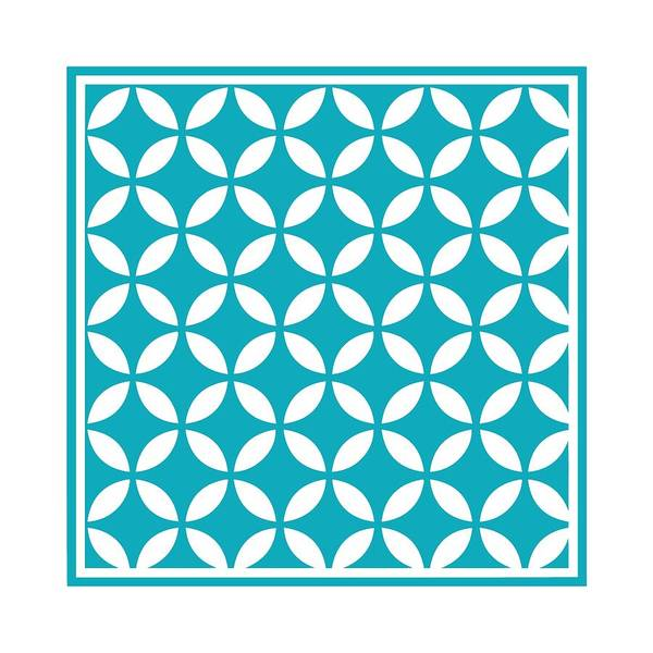 Robin's Egg Blue Digital Art - Moroccan Endless Circles II With Border In Robin's Egg Blue by Custom Home Fashions