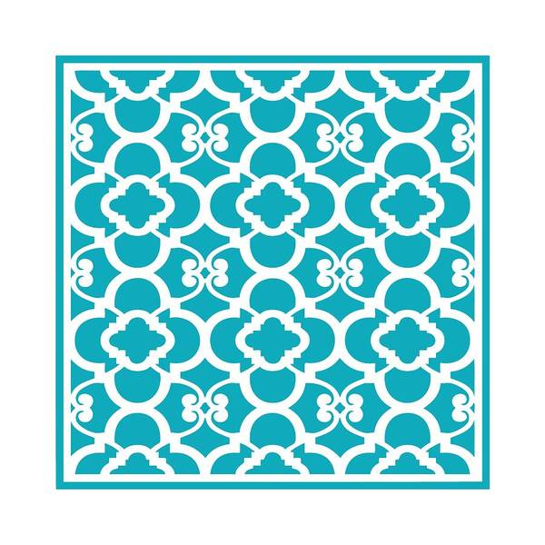 Robin's Egg Blue Digital Art - Moroccan Floral Inspired With Border In Robin's Egg Blue by Custom Home Fashions