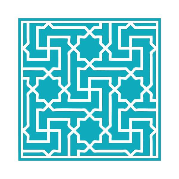 Robin's Egg Blue Digital Art - Moroccan Key With Border In Robin's Egg Blue by Custom Home Fashions