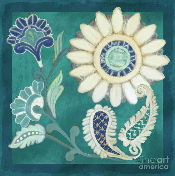Wall Art - Painting - Moroccan Paisley Peacock Blue 2 by Audrey Jeanne Roberts
