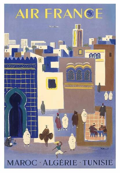 Tunisia Digital Art - Morocco, Algeria, Tunisia, Air France Vintage Airline Travel Poster by Retro Graphics