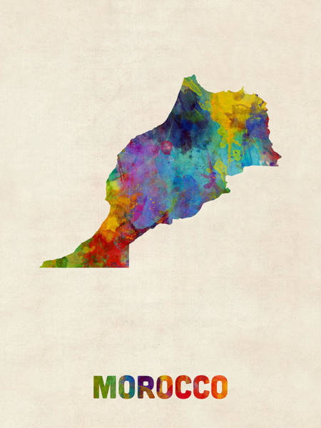 Digital Art - Morocco Watercolor Map by Michael Tompsett