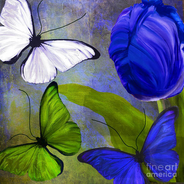 Electric Blues Painting - Morphos I by Mindy Sommers
