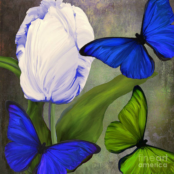 Electric Blues Painting - Morphos II by Mindy Sommers