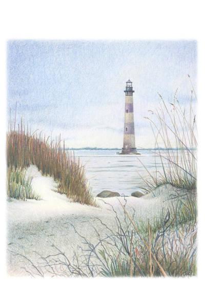 South Beach Drawing - Morris Island Light by Todd Baxter