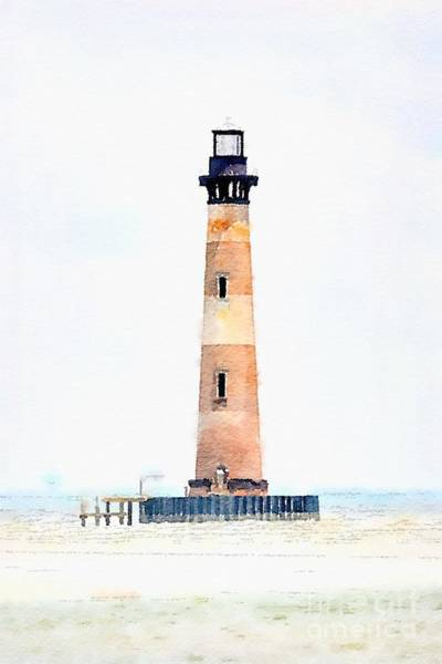 Photograph - Morris Island Lighthouse Watercolor by Dale Powell
