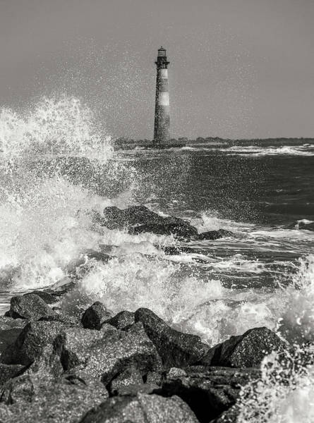 Photograph - Morris Island Lighthouse Waves Against Rocks by Donnie Whitaker