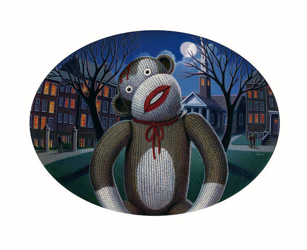 Sock Monkey Painting - Mortal Words by Robin Moline