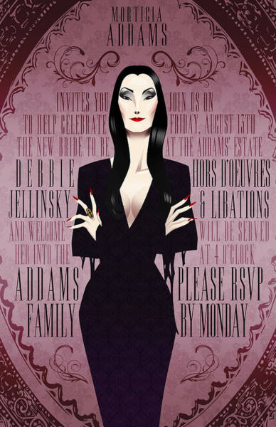 Values Wall Art - Digital Art - Morticia Addams Bridal Shower Invite by Christopher Ables