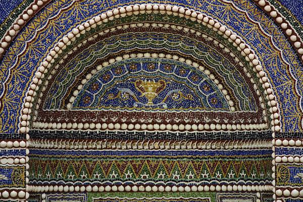 Wall Art - Photograph - Mosaic And Shell Fountain Getty Villa Malibu California by Teresa Mucha