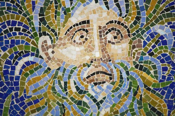 Wall Art - Photograph - Mosaic Face Fountain Detail by Teresa Mucha