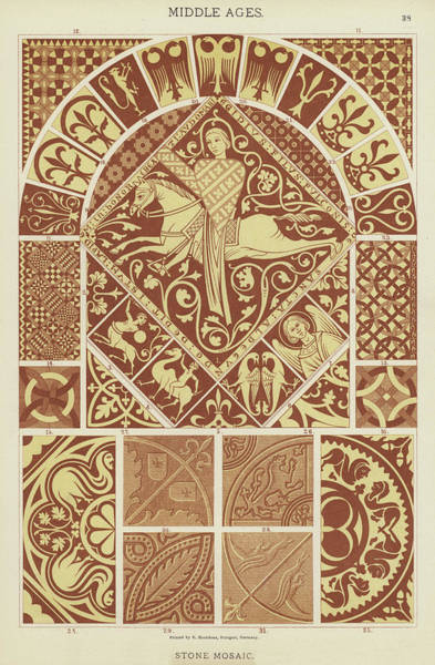 Floral Design Drawing - Mosaic Patterns From The Middle Ages by German School