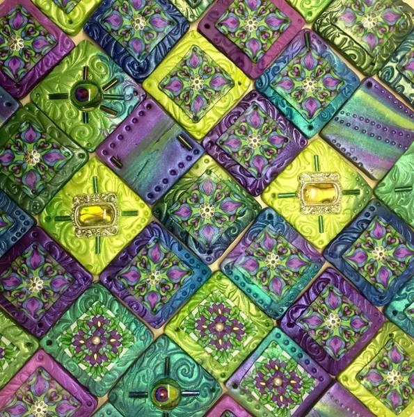Polymer Clay Photograph - Mosaic Peacock by Teresa Stepp