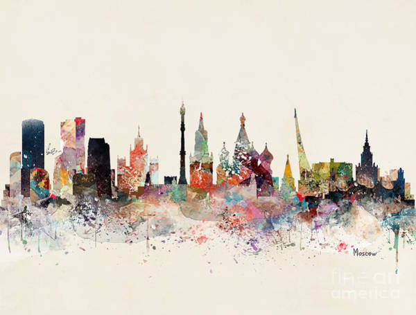 Russia Wall Art - Painting - Moscow Russia Skyline by Bri Buckley