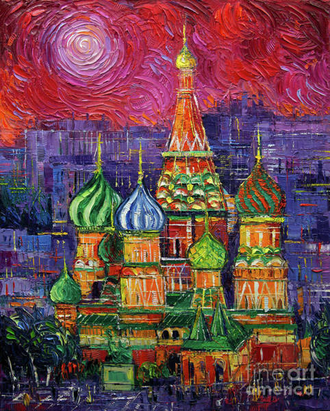 Modernism Painting - Moscow Saint Basil's Cathedral by Mona Edulesco