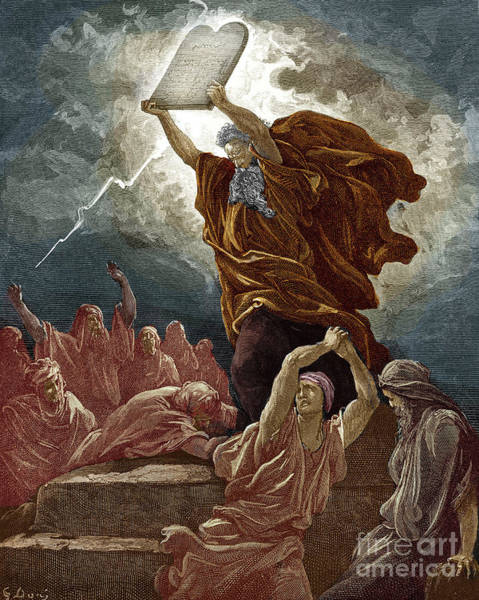 Wall Art - Drawing - Moses Breaks The Tablets Of The Law By Gustave Dore by Gustave Dore