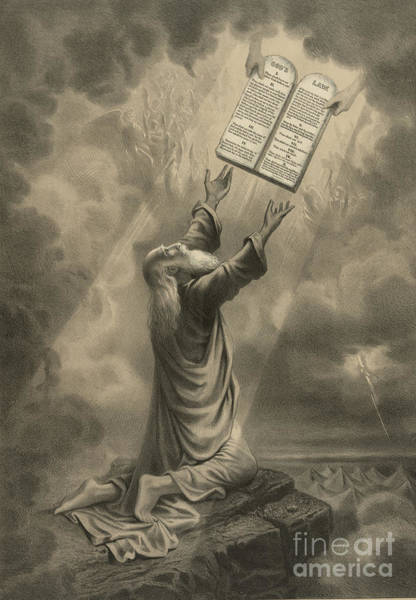 Wall Art - Photograph - Moses Receiving The Ten Commandments by Science Source