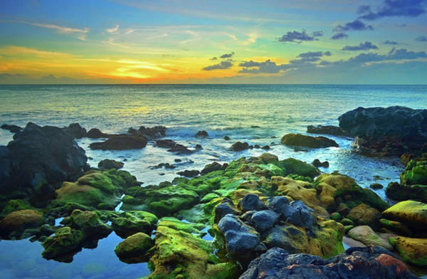 Photograph - Moss Covered Rocks At Sunset In Molokai by Tara Turner