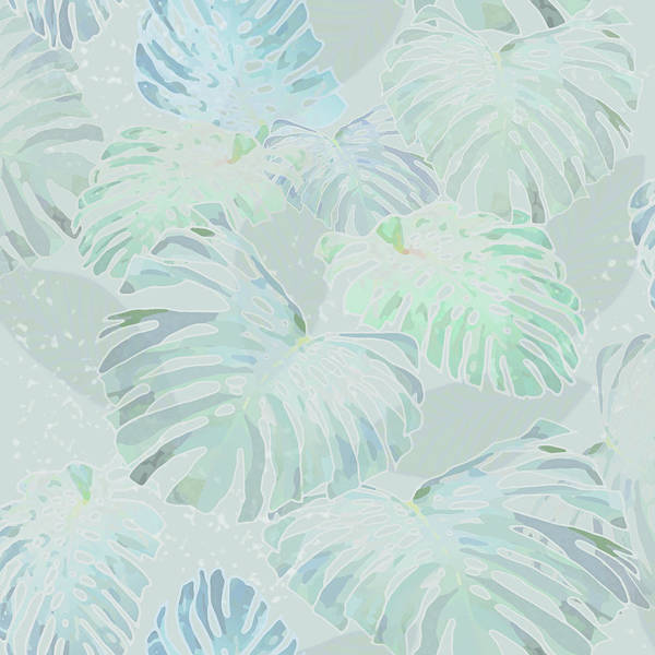 Digital Art - Mossy Faded Monstera Light by Karen Dyson