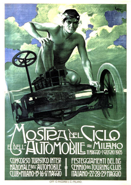 Vintage Automobiles Mixed Media - Mostra Del Ciclo E Dell Automobile - Milan, Italy - Vintage Advertising Poster by Studio Grafiikka