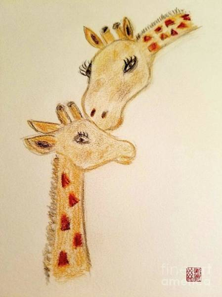 Painting - Mother And Baby Giraffe by Margaret Welsh Willowsilk