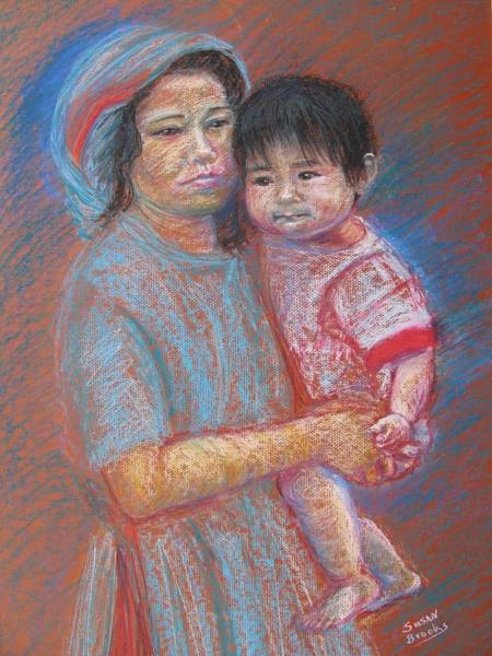 Wall Art - Painting - Mother And Baby In The Philippines by Susan Brooks