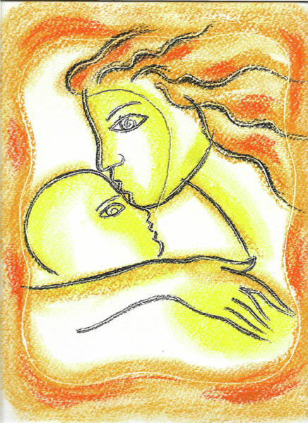 Wall Art - Painting - Mother And Baby by Leon Zernitsky