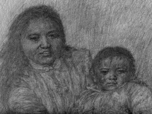 Drawing - Mother And Child - Detail by Sami Tiainen