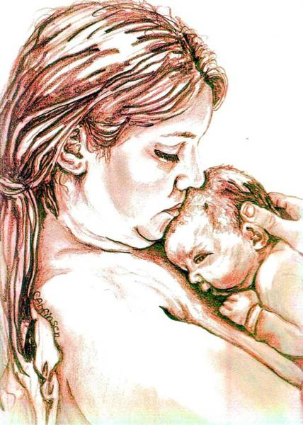 Babe Drawing - Mother And Child 1 by Carol Allen Anfinsen