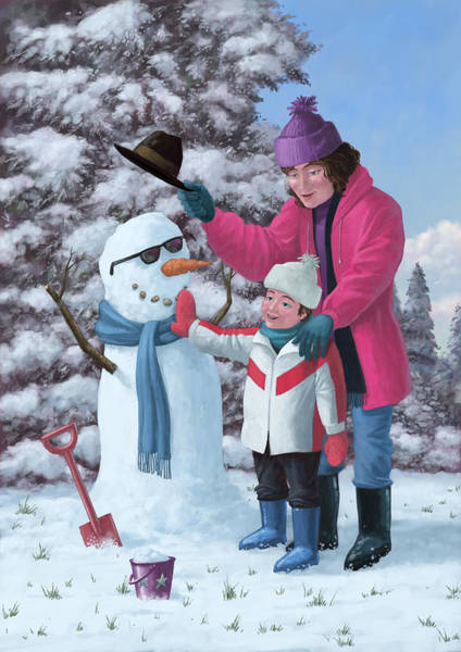 Painting - Mother And Child Building Snowman by Martin Davey