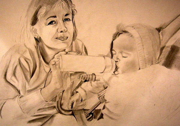 Wall Art - Drawing - Mother And Child by Cristina Sofineti