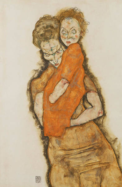 Expressionism Drawing - Mother And Child by Egon Schiele