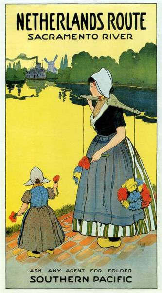 Sacramento Painting - Mother And Child Holding Flowers In The Netherlands Countryside - Sacramento River - Vintage Poster by Studio Grafiikka