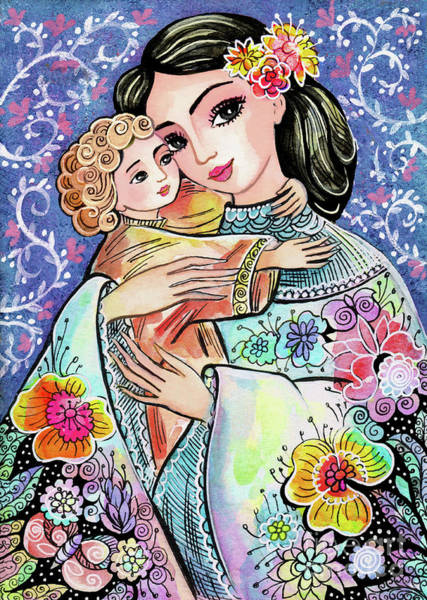 Painting - Woman And Child In Flowers by Eva Campbell