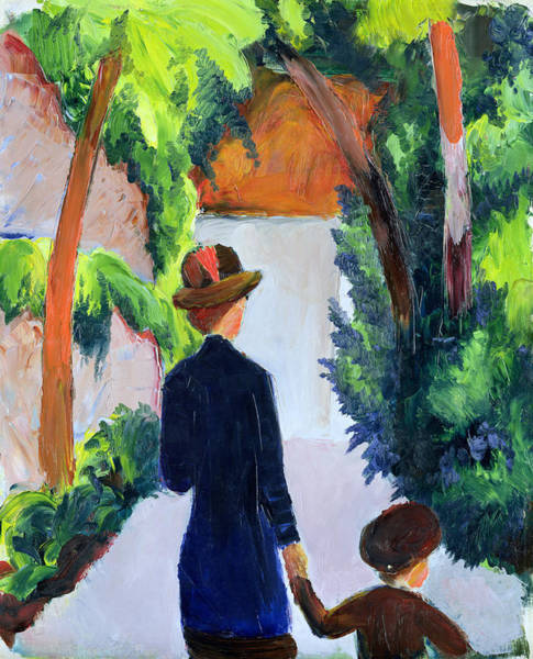 The Blue Rider Wall Art - Painting - Mother And Child In The Park by August Macke
