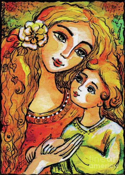 Painting - Mother And Child In Yellow by Eva Campbell