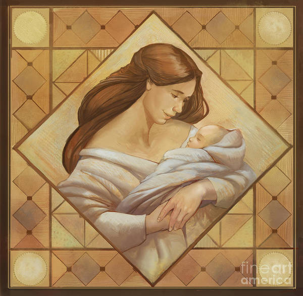 Daughter Digital Art - Mother And Child by MGL Meiklejohn Graphics Licensing