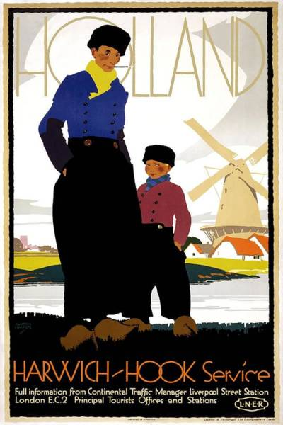 Kunst Painting - Mother And Child Near A Windmill In Holland - Vintage Travel Poster by Studio Grafiikka