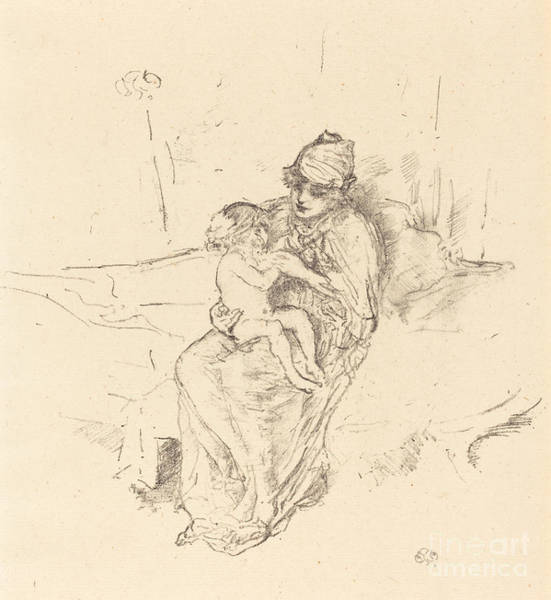 Wall Art - Drawing - Mother And Child, No.i by James Mcneill Whistler