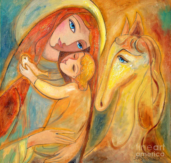 Painting - Mother And Child On Horse by Shijun Munns