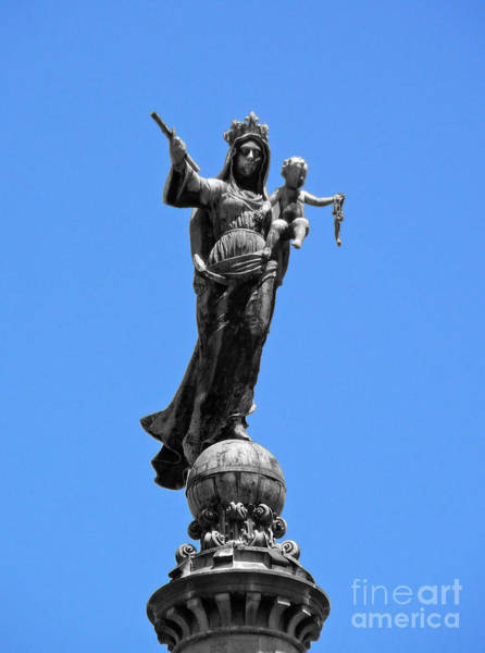 Mother And Child Rooftop Statue Art Print