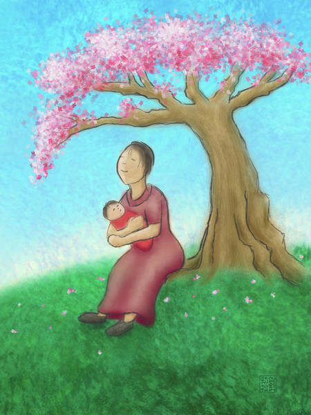 Mother And Child With Cherry Blossoms Art Print