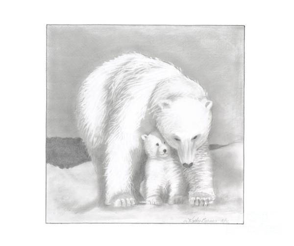 Polar Bear Drawing - Mother And Cub by Kathy Burns